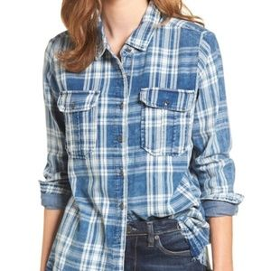 Blank NYC You Outta Know Frayed Plaid Shirt MED